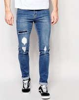 Dr Denim Snap Skinny Jeans Ripped Mid Wash Blue