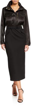 Brandon Maxwell Long-Sleeve Wool/Silk Twill 1/2-Zip Parka Dress