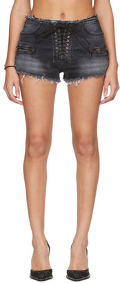 Unravel Black Denim Lace-Up Shorts