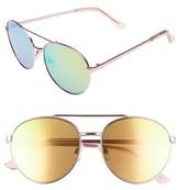 BP Women's Lucky Seven 55Mm Metal Aviator Sunglasses - Pink
