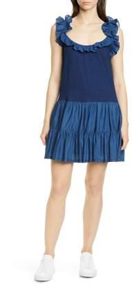 La Vie Rebecca Taylor Ruffle Detail Sleeveless Mix Media Cotton Dress