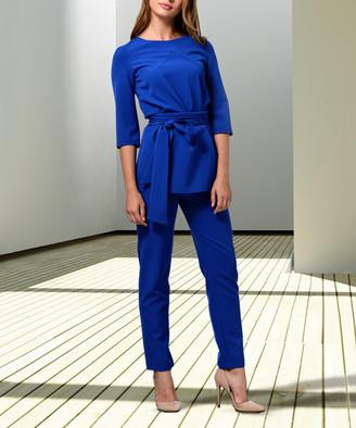 LADA LUCCI Women's Dress Pants Electric - Electric Blue Belted Three-Quarter Sleeve Top & Pants - Women & Plus