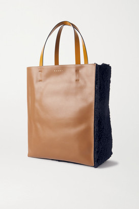 Marni Museo Shearling And Leather Tote - Navy