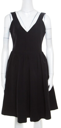 Preen by Thornton Bregazzi Black Plunge Neck Ted Satin Flo Dress XL
