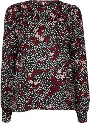 Wallis Black Floral Print Puff Sleeve Top