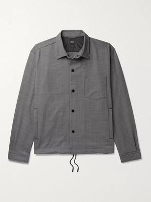 HUGO BOSS Houndstooth Woven Overshirt - Men - Gray