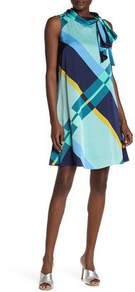 London Times Charmeuse Printed Bow Neck Dress