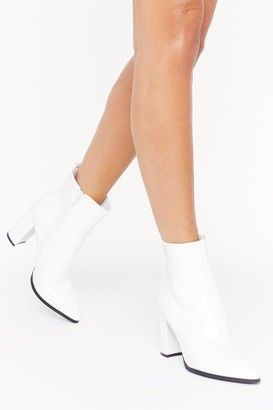 Nasty Gal Womens Step Outta Line Faux Leather Boots - white - 3