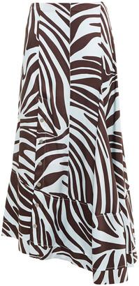 3.1 Phillip Lim Asymmetric Zebra-print Silk-satin Twill Skirt