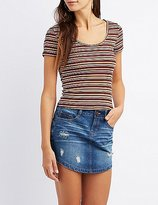 Charlotte Russe Striped Lattice-Back Skimmer Top