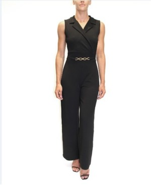 Almost Famous Juniors' Belted-Detail Sleeveless Jumpsuit