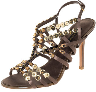 Louis Vuitton Dark Grey Satin Large Sequin Embellished Strappy Sandals Size 37
