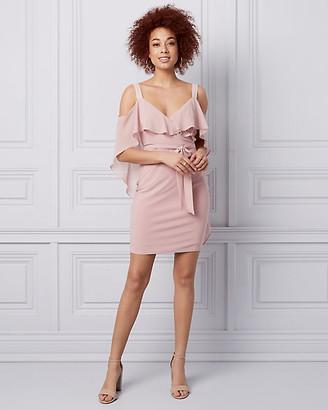 Le Château Chiffon Cold Shoulder Wrap-Like Cape Dress