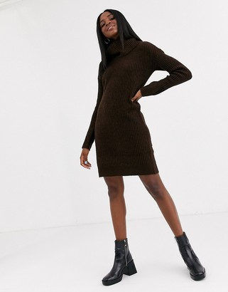 Pimkie roll neck knitted dress in chocolate-Brown