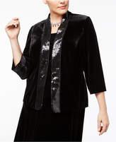 Alex Evenings Plus Size Sequined Velvet Jacket & Shell