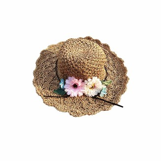 Ogquaton Vintage Raffia Straw Hats Floppy Wide Large Sun Hat Solid Fringe Wide Brim Beach Hats for Women Premium Quality