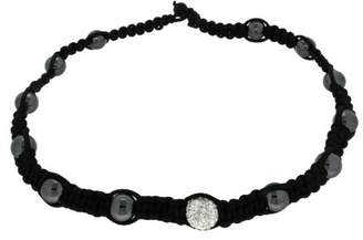Shamballa Crystalique Black Black Cord Haematite with White Crystal and Black Beads Necklace of 45cm/17.75""