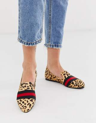 Steve Madden Nema leopard print flat shoes with contrast ribbon-Multi