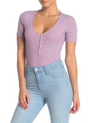 Elodie K Ribbed Button Front Bodysuit