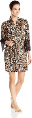 Cinema Etoile Women's Cheetah Print Brush Poly Knit Robe
