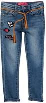 Betsey Johnson Heart Patch Skinny Jean with Braided Tassel Belt (Big Girls)