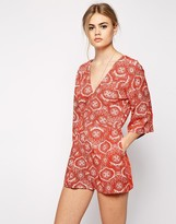 Motel Valeria Kimono Sleeve Romper In Terracotta Tile Print