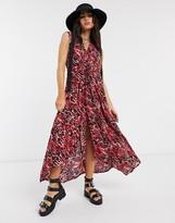 AllSaints tate ambient leopard print maxi dress in red
