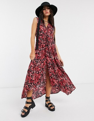 AllSaints tate ambient leopard print maxi dress in red
