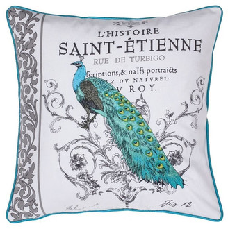 14 Karat Home Inc. Elegant Peacock Embroidered Pillow