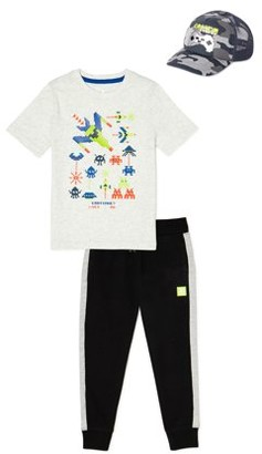 365 Kids From Garanimals Boys Outer Space Graphic T-Shirt, Sweatpants, & Hat, 3-Piece Outfit Set, Sizes 4-10
