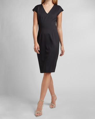 Express Supersoft Twill Pleated V-Neck Sheath Dress