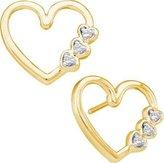 TheJewelryMaster 0.07ctw Heart Shape Diamond Stud Earrings