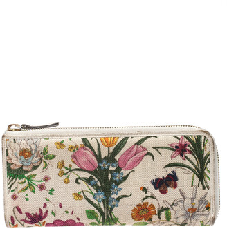 Gucci Off White Floral Printed Canvas Zip Around Wallet
