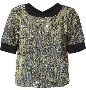 Alice + Olivia Danica Sequined Crepe De Chine Top