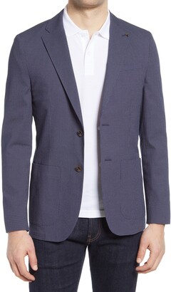 Ted Baker Cactus Slim Fit Check Stretch Cotton Blend Sport Coat