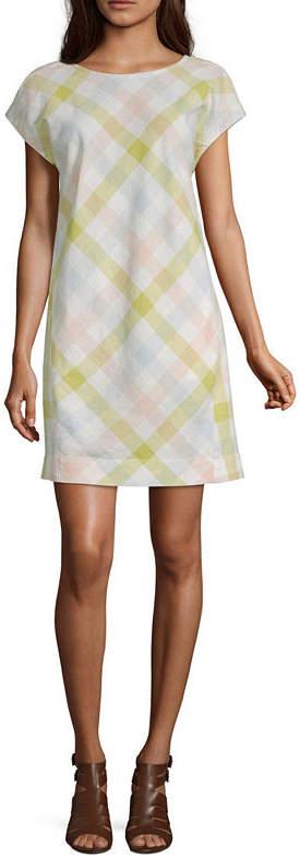 8e2db2e81a9 PEYTON & Peyton & Short Sleeve Plaid Sheath Dress