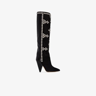 Isabel Marant Black Lyork 95 slouchy studded boots