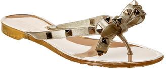 Valentino Rockstud Glittered Rubber Thong Sandal