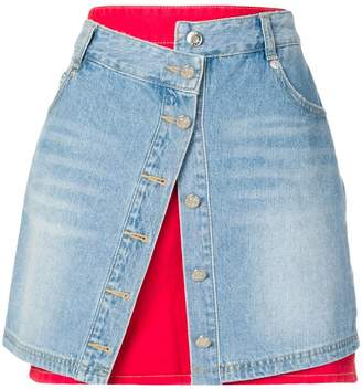 Sjyp layered denim skirt