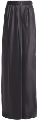 Alberta Ferretti Gathered Silk-satin Crepe Maxi Skirt
