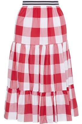 Stella Jean Grosgrain-trimmed Gathered Gingham Cotton-poplin Skirt
