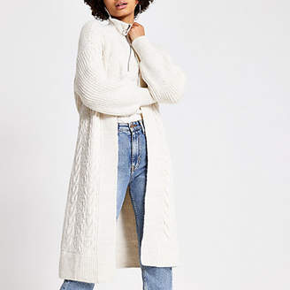 River Island Cream cable knitted tie belted maxi cardigan