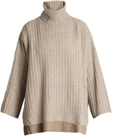 Joseph Roll-neck ribbed-knit wool poncho