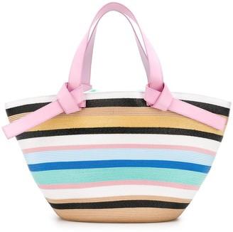 Emilio Pucci Multicolour Raffia Stripe Beach Tote Bag
