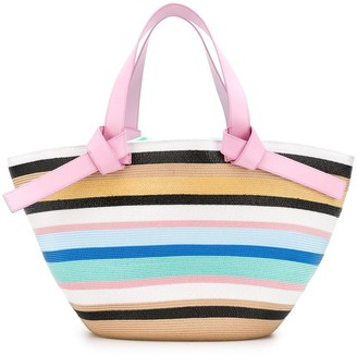 Emilio Pucci Multicolour Raffia Stripe Beach Tote Bag