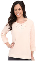 Lucky Brand Cut Out Embroidered French Terry Crew