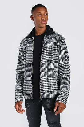 boohoo Mens Black Check Borg Collar Unlined Harrington Jacket, Black