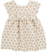 Baby CZ METALLIC-DETAILED POLKA DOT JACQUARD-WOVEN DRESS & BLOOMERS SET