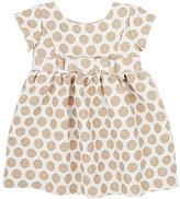 Baby CZ Metallic-Detailed Polka Dot Jacquard-Woven Dress & Bloomers Set