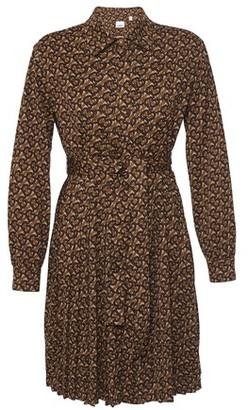 Burberry Pleated Monogram Print Jersey Tie-waist Shirt Dress